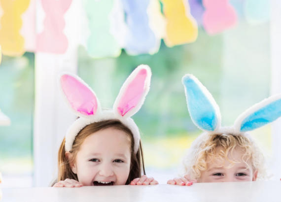 Kids with bunny ears