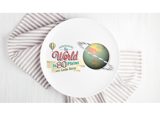 Around the World in 80 Plates With Leslie Durso Logo