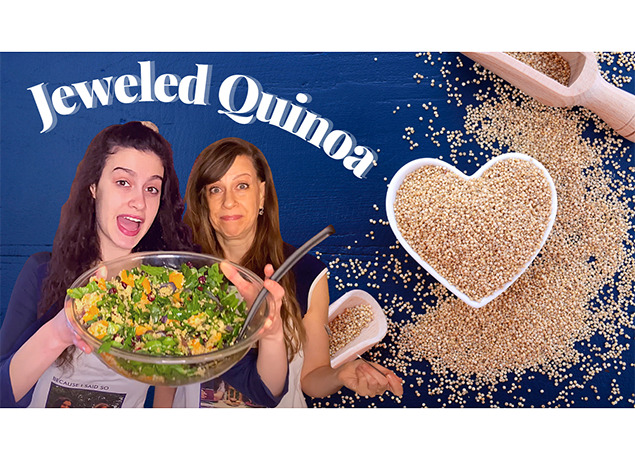 The Packers holding up their Jeweled Quinoa