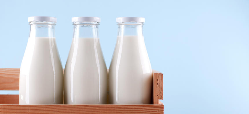 Milk in Glass Jugs